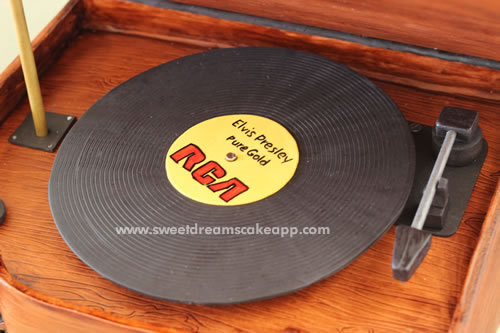 Inside the record player cake